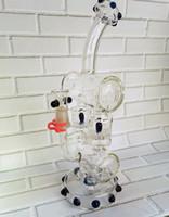 Bon Marché Tubes narguilé-Nouveau verre recycler verre bong dab rigs tuyau d'eau avec pneus alvéolaire perc narguilés pour fumer gréement pétrolier Tubes 14.4mm joint