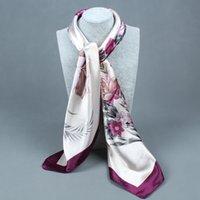 Cheap Wholesale-Scarf Women large satin square scarf 90 * 90 cm Print flowers Emulation silk scarf headband summer style scarf