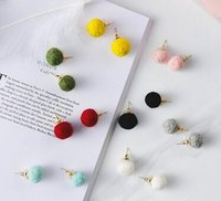 Wholesale A Variety Of Colors Of Plush Ball Wool Maomao Korean Sweet Temperament Simple All match Earrings For Fashion Women