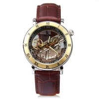 belt bridge - IK Steampunk Bridge Skeleton Self Winding Mechanical Business Men s Watch Black Coffee Leather Belt Strap