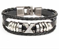 achat en gros de x couche-Hommes multi-couches tissés couple en cuir Bracelet X lettre ancre en acier inoxydable Jay Chou avec le même Bracelet Livraison gratuite