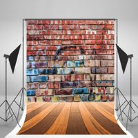 Wholesale 5x7ft x210cm Red Brick Wall Photo Backdrop Wooden Floor Photography Background Retro for Photo Studio