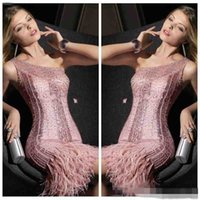 adorn sequin - Pink Sheath Short Mini Bling Bling Evening Dresses Feather Adorned Custom Beautiful Prom Party Gowns Beading Slim Formal High Quality