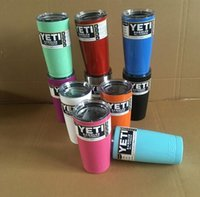 Wholesale 10 colors Yeti Cup oz Stainless Steel oz Yeti colster Ramblers ice Coolers Tumblers Travel coffee Mugs mettalic color yeti cups colored