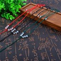 Lien pour perles Avis-Chine Bijoux ethniques bricolage tissés à la main corde rouge Colliers chaîne 8pcs perles de verre Collier Vintage multi couleur corde Clavicule colliers PL022