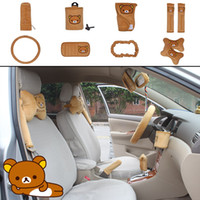 acura wheel bearing - 10pcs unit Auto Accessories Rilakkuma yellow Car Upholstery Steering wheel cover pillow Bear car covers set Universal Automotive interior