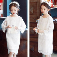 Wholesale High Quality Kids Child Girl s Lace Dresses Sweet Elegant Cotton White Dress Birthday Party Princess Dress for Years Old
