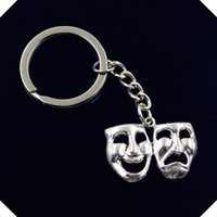 Wholesale new fashion men mm keychain DIY metal holder chain vintage comedy tragedy masks mm antique silver key rings