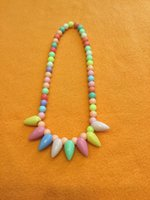 Wholesale personality candy color necklace for kids fashion beaded triangle style Jewelry Acrylic Princess accessories girl gift Colorful