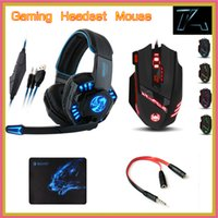 adapter headband - Noswer I8 Gaming Headset Headphones T90 Mouse Sades Mousepad with mm Female to male Audio Adapter for PC Gamer Phones