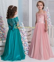 Wholesale Lace Short Sleeves Flower Girl Dresses A line Vintage Tulle Child Dresses Beautiful Flower Girl Wedding Dresses F063