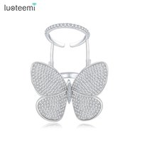 Wholesale LUOTEEMI Luxury Unique Active Butterfly With Spankling Clear Cubic zirconia Paved Fashion Knuckle Rings For Women