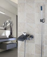 Wholesale HELLO Bathroom Bathtub Waterfall Shower Faucet Set with Handheld Shower Mixer Taps torneira