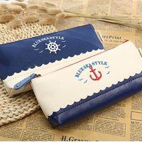 Wholesale Creative Navy Style Pencil Bag Pencil Case Navy Blue Mediterranean Canvas Stitching Makeup Bag Cosmetic Storage Bag Coin Purse