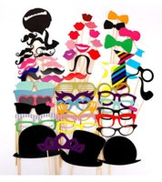 Wholesale 58PCS Photo Booth Colorful Props On A Stick Mustache Party Fun Wedding Favor Christmas Birthday Favor