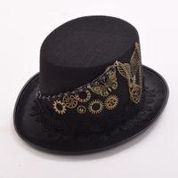 Wholesale 1pc Unisex Gothic Steampunk Gears Butterfly Black Top Hat Vintage Women Men Couple s Hat Party New