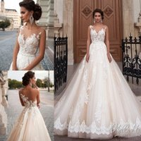Wholesale Lace Empire Neckline Wedding Dress - 2016 Wedding Dresses Bridal Dresses Sheer Neckline A Line Cathedral Ball Gowns Cheap Wedding Gowns with Sash and Appliques