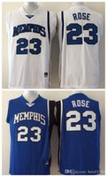 Wholesale Memphis Tigers Men Jersey Derrick Rose Mens College Football Jerseys White Blue
