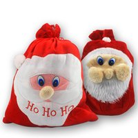 Wholesale Wholesales High quality Christmas Day Decoration Santa Large Sack Stocking Big Gift bags HO HO Christmas Santa Claus Xmas Gifts