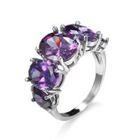 Wholesale Ring plated with white gold purple crystal wedding party jewerly