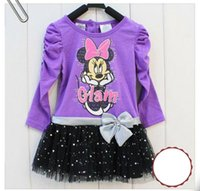 baby long sleeve dress pattern - 2016 HOT Selling girls dresses cartoon mouse pattern printed long sleeve dress winter kids girls frocks baby clothes dresses