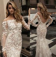 beautiful long skirts - 2017 berta bridal long sleeves off the shoulder lace wedding dresses full embellishment elegant beautiful sheath low back wedding gowns