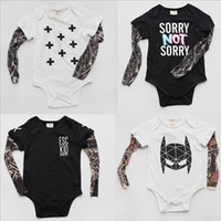 baby boy rompers - Hug Me Baby Rompers Boys Girls Clothing Summer Print Tattoo Romper Fashion Long Sleeve Cotton Romper EC