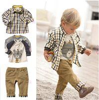al por mayor 4t muchachos pantalones de vestir-Los niños de los bebés del niño 3Pcs visten los pantalones de la capa + de la camisa + del dril de algodón Los cabritos arropan los equipos 2-6Years