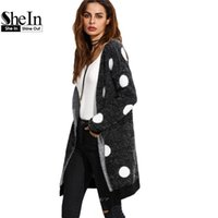 Vente en gros-SheIn Black Long Cardigan Polka Dot Winter Womens Sweaters Open Front 2016 à manches longues Womens Fall Fashion Knitted Sweater Coat