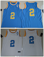 Wholesale 2017 UCLA Bruins Lonzo Ball jersey Men College HIGH QUALITY Jersey embroidery jerseys Blue White Size S XL
