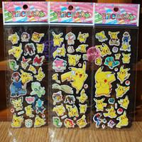 Wholesale 6sheets Pikachu Go Cartoon Reward Kids Stickers Toys Puffy Pattern Teacher Lovely Stickers Boys Girls