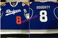 angeles mix - 2017New Style Los Angeles Dodgers Kings Combination Hockey Baseball Jersey DOUGHTY Mix Style With King Patch Stithced