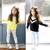 best kids tees - 2017 Spring Autumn V neck Girls Funny Shirts Long Sleeve T Shirt Sweater Best Cotton Cheap Funny Kids Tee Shirt Tops black sale Lovekiss A78
