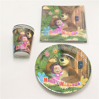 bear birthday decorations - Masha Bear Birthday Party Decoration Towels Kids Favors Napkins Paper tissue Plates Cups Happy Baby Shower Supplies