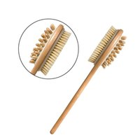 Wholesale 2 in Dry Bath Bamboo Body Brush Natural Bristle Shower Brushes with Long Handle Exfoliating Scrub Skin Brush Dry or Wet Body Brush