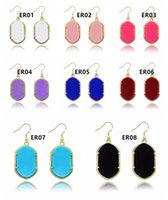 Wholesale NEW Hot Gometric Kendra Earring Scott Style Acrylic Natural Stone Chandelier Dangle Earrings Boutique Lady Costume Jewelry