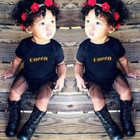 Wholesale Children s Clothing Explosion Queen Letter Lace Baby Summer Jumpsuit Romper Black Short sleeved Triangle Clothing