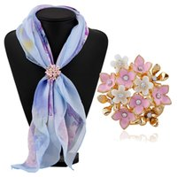 Wholesale Fashion scarf accessories jewelry flower diamond scarf clip scarf ring buckle design new drop shipping kk17072