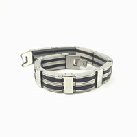 bar ropes - Stainless Steel Bracelet Bangle cm Men s Jewelry Strand Rope Charm Chain Wristband Men s Bracelet Silicone Chian