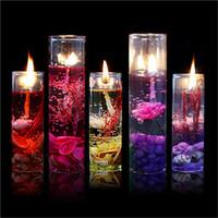 Ракушка масло Цены-Высокое качество Ароматерапия бездымные свечи океана раковины желе эфирное масло венчальные свечи романтические ароматические свечи случайный цвет