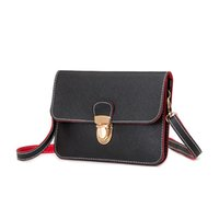 Wholesale Two tone Saffiano PU leather Women cross body bag mobile phone pouch pocket lady clutch with wrist strap color BLLM1