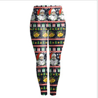 Wholesale Womens Christmas Print Active Workout Stretch Footless Leggings Casual Active Sports Gym Pants Joggers Sweatpants ouc037