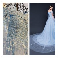baby wrap dress - Gorgeous Gowns Sparkly Jewelry Wedding Dresses with Wrap Pastels Tulle Applique Off Shoulder Dresses Chapel Train Baby Blue Bridal