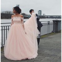 Wholesale 2017 Fairy Custom Pink A line off Shoulder Sexy country Wedding Dresses Sweep Train with Plus Size Long sleeves Bridal Gowns