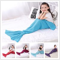 Wholesale New cartoon Mermaid Tail Kids Blankets Sleeping Bags Bedding Warm Soft Handmade Knitted Blankets Christmas Gift A0513