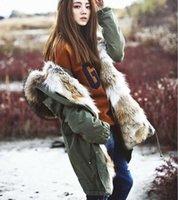 al por mayor chaqueta de mujer de piel real-Liner Desmontable piel de conejo señoras largas pieles con capucha con cuello de piel de mapache real Mujeres chaqueta de lona