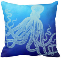 Wholesale Vintage Giant Octopus in Deep Blue Ocean Throw Pillow Case Sofa Cushions Case Car Pillow Case
