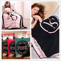 Wholesale Pink Letter Blankets Coral Fleece Blanket Sofa Air Condition Blankets Catwalk Dimensional Beadding Christmas Gifts