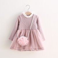 Wholesale Childrens Party Bags Wholesale - Winter Girls Thicken Dress Long Sleeve Childrens Clothing Girls Stand Collar Dress With Pink Lace Bag Princess Dress Girls Party Dress Q0491