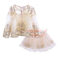 beaded skirt set - Pettigiirl New Girl Clothing Set Floral Embroidery With Sling Vest Lining Beaded Skirt Chiffon Children Casual Clothes Set CS90407 L